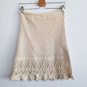 Athleta Cream Crochet Beach Boho Skirt